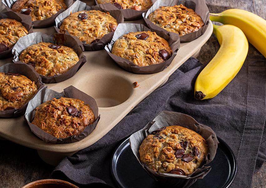 Banana-Granola Chocolate Chip Muffins