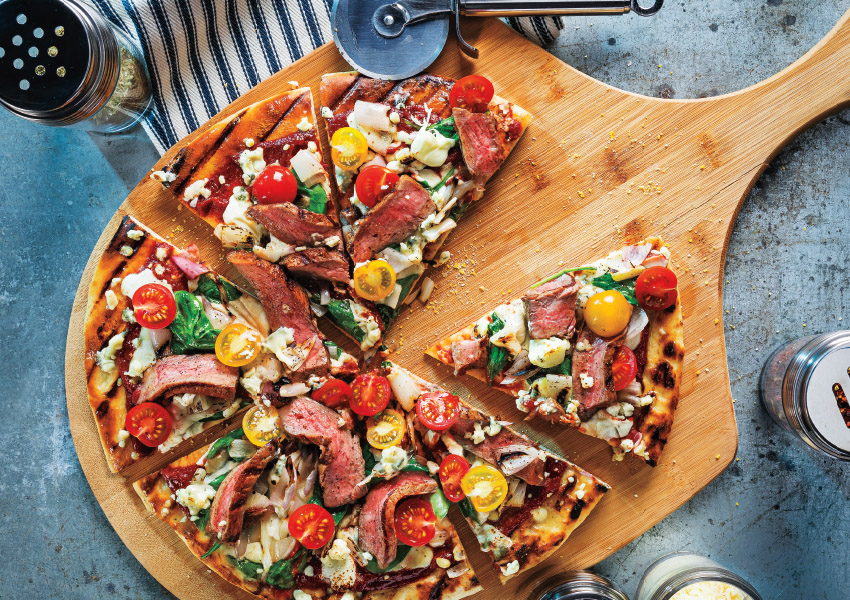 Grilled Balsamic Steak & Blue Cheese Pizza