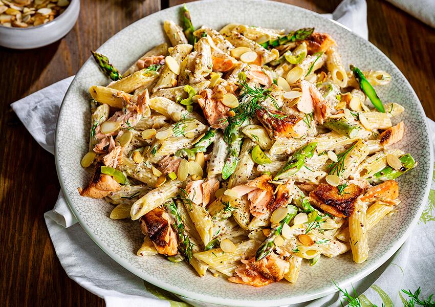 Grilled Salmon & Asparagus Pasta Salad