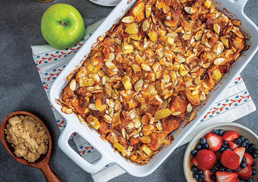 Overnight Almond Butter-Apple French Toast Casserole