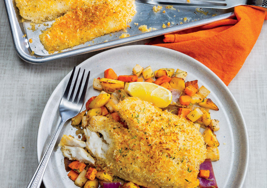 Sheet-Pan Parmesan Tilapia with Roasted Root Vegetables