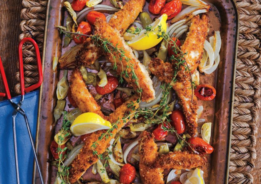 Sheet Tray Lemon-Parmesan Chicken with Artichokes, Tomatoes & Onions
