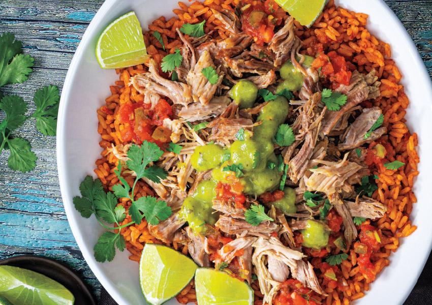 Slow Cooker Southwest Pork Carnitas Rice Bowl